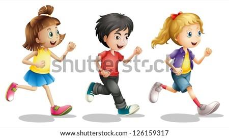 Illustration of kids running on a white background - stock vector