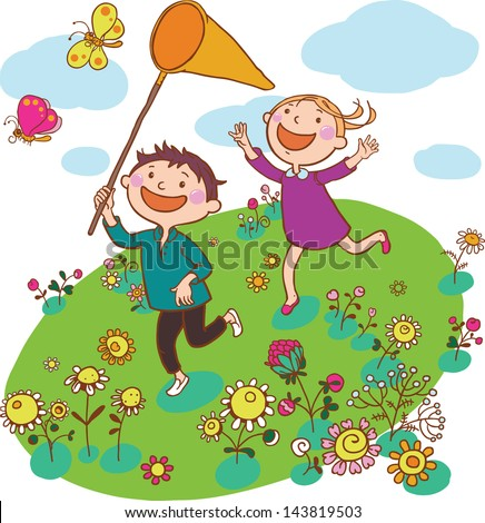 Illustration of Kids Running Together Outside with Butterflies. Children illustration for School books and more. Separate Objects.  - stock vector