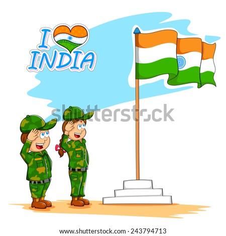 illustration of kids saluting Indian flag - stock vector