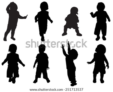 Illustration of kids silhouettes - stock vector