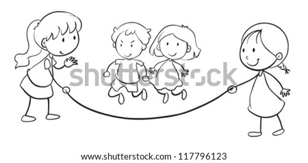 illustration of kids skip rope on a white background - stock vector