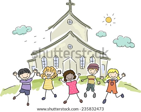 Illustration of Kids Standing Happily in Front of a Church - stock vector