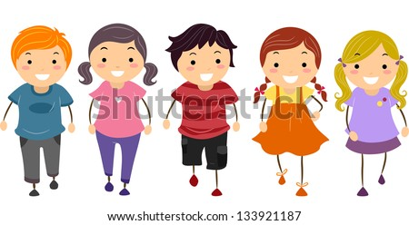 Illustration of Kids Walking in Front - stock vector
