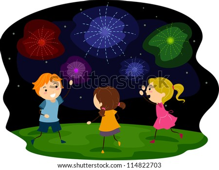 Illustration of Kids Watching a Fireworks Display - stock vector