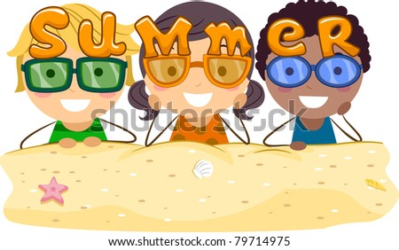 Illustration of Kids Wearing Summer-themed Shades - stock vector