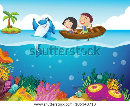 Illustration of kids with a shark - stock vector