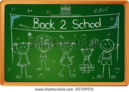 illustration of kids with banner in chalk board - stock vector