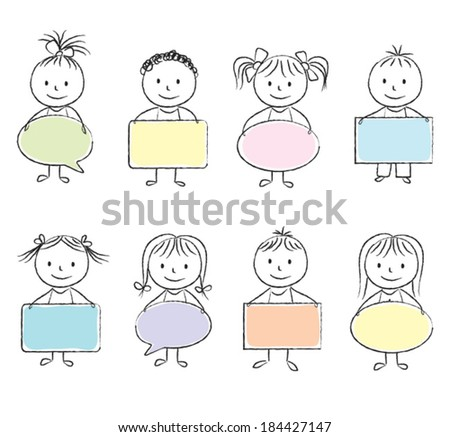Illustration of kids with colored banners - chalk drawing - stock vector