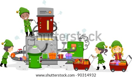 Illustration of Kids Working in a Gift Factory - stock vector