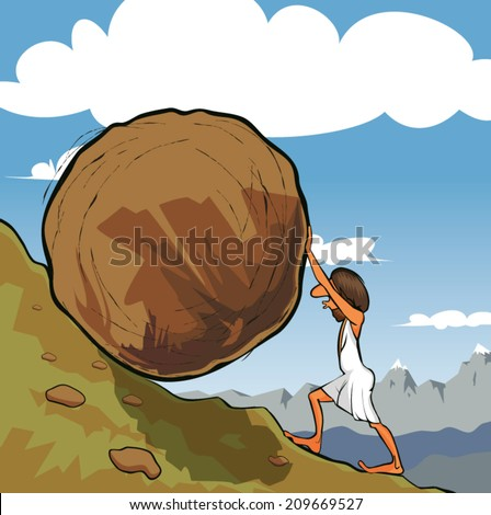 Illustration of king Sisyphus rolling a boulder up the hill. - stock vector