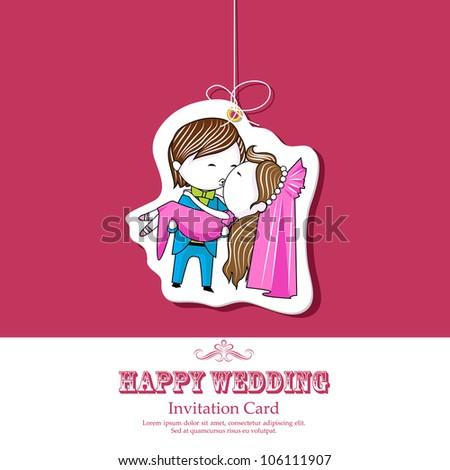 illustration of kissing couple on wedding invitation template - stock vector