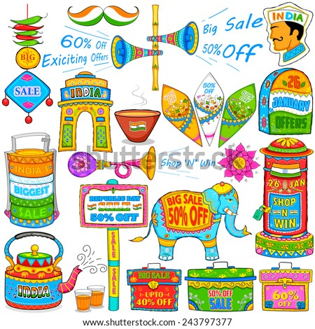 illustration of kitsch art of India showing sale and promotion - stock vector