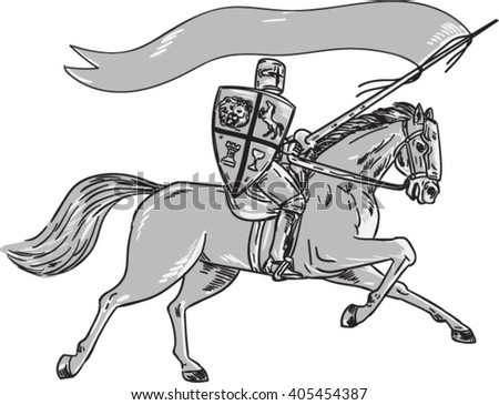 Illustration of knight horseback in full armor holding lance, shield and flag riding horse viewed from the side on isolated white background done in retro style.  - stock vector