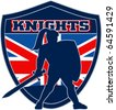 """illustration of Knight silhouette with sword shield side Great Britain British union jack flag in background words """"Knights"""" suitable mascot for  sports sporting club organization - stock vector"""