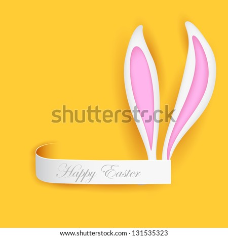 illustration of label with Easter bunny ears - stock vector