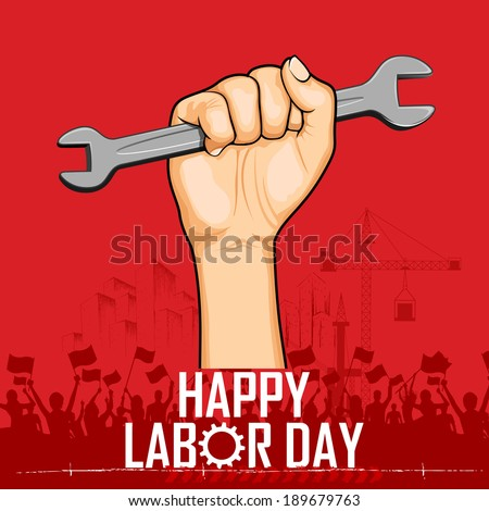 illustration of Labor Day concept with man holding wrench - stock vector