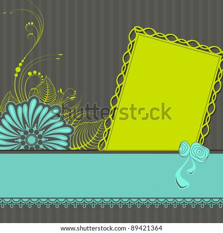 illustration of lace ribbon with flower on retro background - stock vector