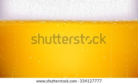 illustration of lager beer background with a lot of bubbles - stock vector