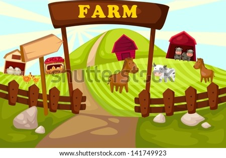 illustration of landscape cartoon farm - stock vector