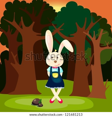 illustration of landscape cute rabbit in the forest - stock vector