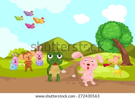 illustration of landscape turtle and rabbit racing  - stock vector