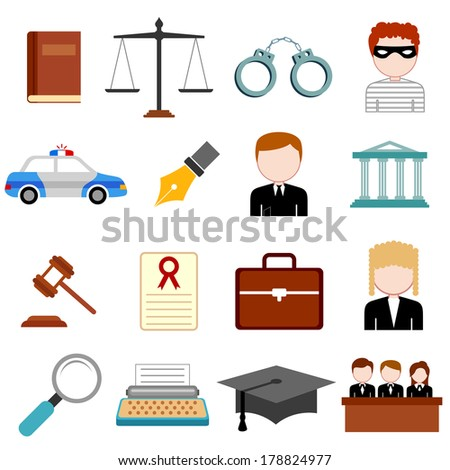 illustration of law and justice icon in flat style - stock vector