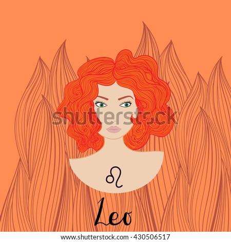 Illustration of leo zodiac sign as a beautiful girl. Vector illustration. - stock vector