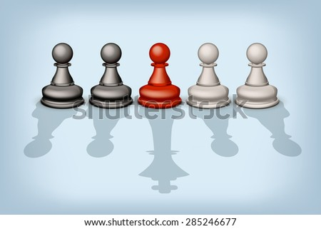 illustration of line of pawns with different types of shadows - stock vector