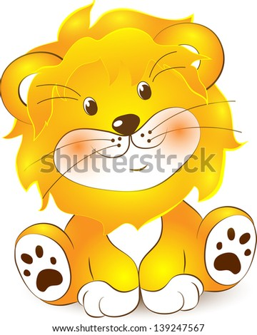 illustration of lion cartoon on a white background - stock vector
