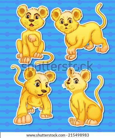 Illustration of lion cubs set - stock vector