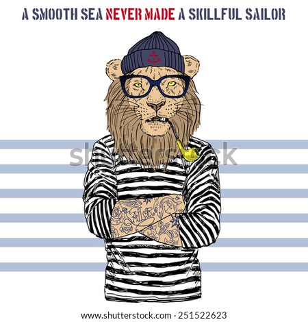 illustration of lion sailor - stock vector