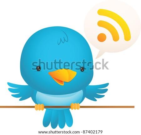 Illustration of Little Blue Bird talk - stock vector