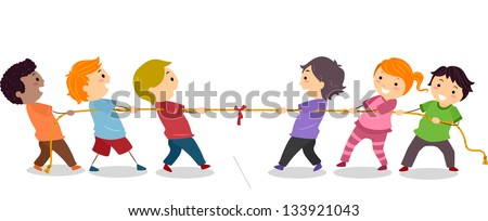Illustration of Little Kids playing Tug of War - stock vector