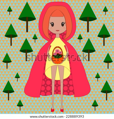 Illustration of little red riding hood - stock vector