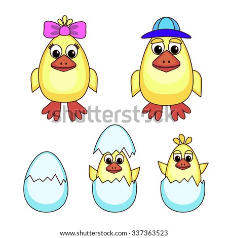 Illustration of little yellow chickens - stock vector