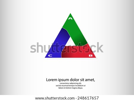 Illustration of logo infographic of triangle consists of three separate parts with different colors and with shadows in bend - stock vector