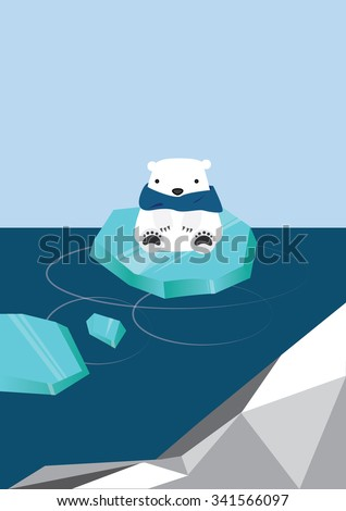 Illustration of Lonely Polar Bear in the Arctic - stock vector