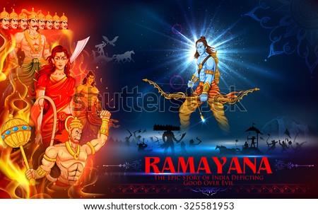 illustration of Lord Ram, Sita, Laxmana, Hanuman and Ravana in Dussehra poster - stock vector