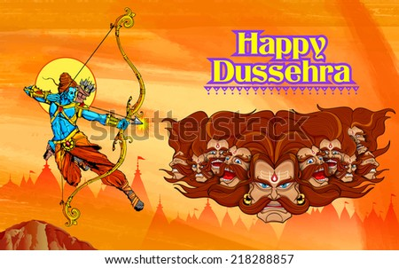 illustration of Lord Ram with bow arrow killing Ravan - stock vector
