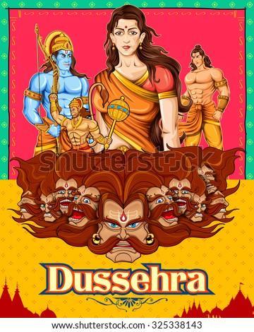 illustration of Lord Rama, Sita, Laxmana, Hanuman and Ravana in Dussehra poster - stock vector