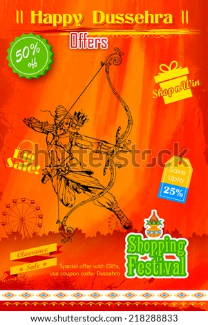 illustration of Lord Rama with bow arrow in Dusshera promotion poster - stock vector