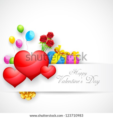 illustration of love background with heart and balloon - stock vector