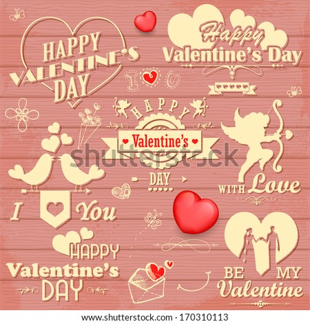 illustration of love label for Valentine's day decoration - stock vector