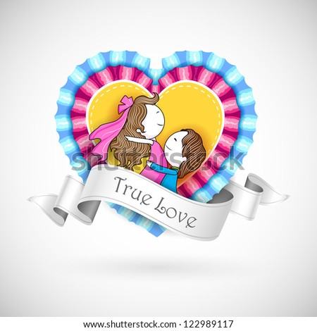 illustration of loving couple on retro style lace heart - stock vector