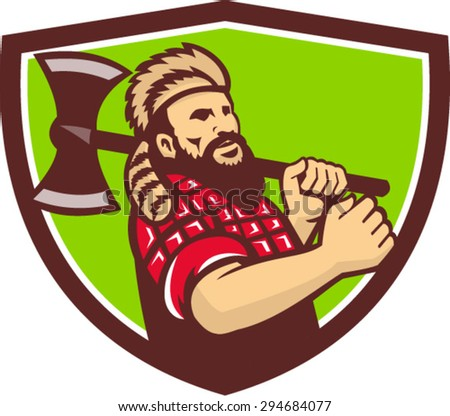 Illustration of lumberjack arborist tree surgeon carrying axe on shoulder set inside shield crest on isolated background done in retro style. - stock vector