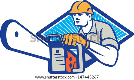 Illustration of lumberjack arborist tree surgeon holding a chainsaw set inside diamond shape on isolated white background. - stock vector