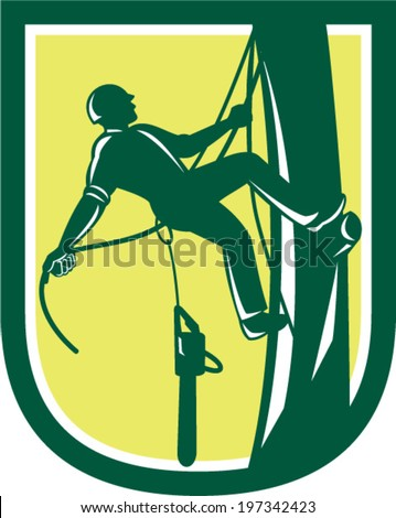 Illustration of lumberjack arborist tree surgeon with harness rope and chainsaw hanging climbing tree post set inside shield crest on isolated background done in retro style - stock vector