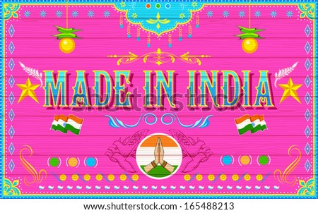 illustration of Made in India Background - stock vector