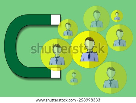Illustration of magnet attracting business people - stock vector