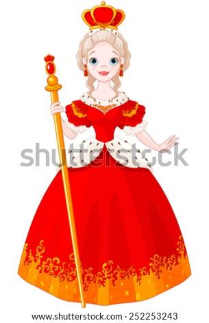 Illustration of majestic Queen - stock vector